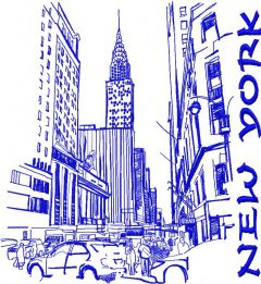 New York 3 embroidery design