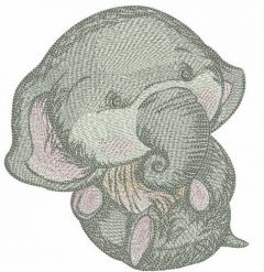 Newborn elephant embroidery design