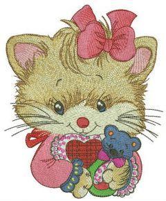 Newborn kitty embroidery design