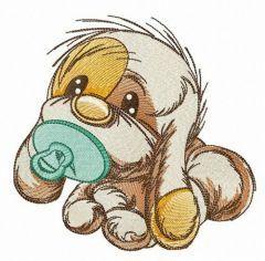 Newborn puppy embroidery design