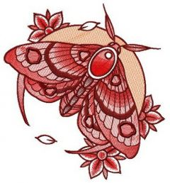 Night moth and flowers embroidery design