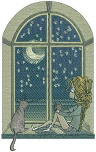 Night near the window embroidery design