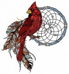 Northern cardinal with dreamcatcher embroidery design
