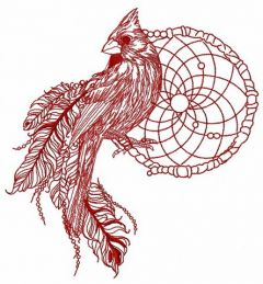 Northern cardinal with dreamcatcher one color embroidery design
