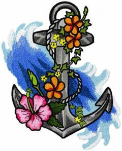 Old anchor in flowers embroidery design