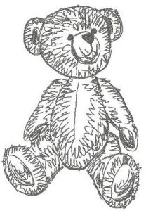 Old bear toy 5 embroidery design