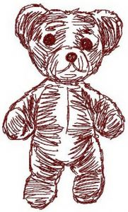 Old bear toy 7 embroidery design