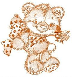 Old bear toy gift sketch embroidery design