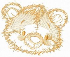 Old bear toy head sketch embroidery design
