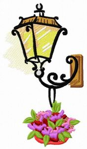 Old-style lantern embroidery design