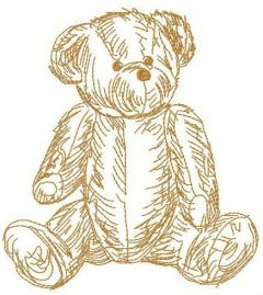 Old teddy toy 2 embroidery design