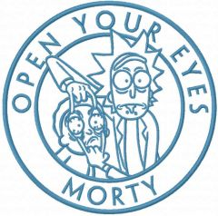 Open your eyes morty embroidery design