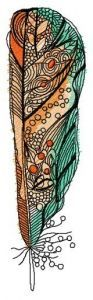 Orange and green feather embroidery design