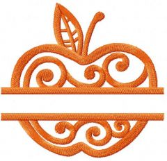 Orange apple embroidery design