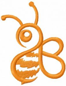 Orange Bee 4 embroidery design