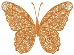 Orange lace butterfly embroidery design