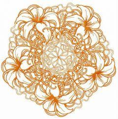 Orange lily doily embroidery design