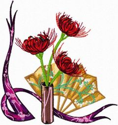 Oriental Composition with Flowers embroidery design