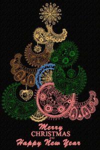 Original Christmas tree embroidery design