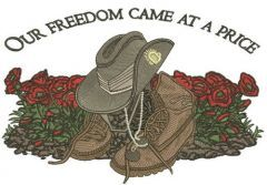 Our freedom came at a price 2 embroidery design