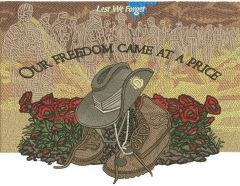 Our freedom came at a price embroidery design