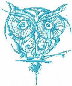 Blue strange owl embroidery design