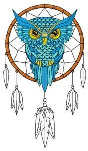 Owl dreamcatcher 3 embroidery design