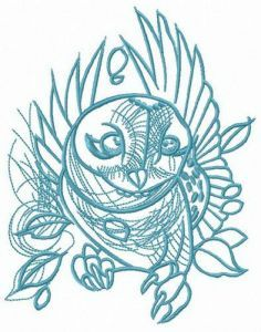 Owl flying embroidery design