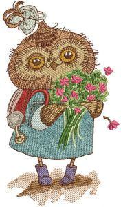 Owl with bouquet embroidery design