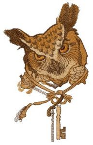 Owl key keeper embroidery design