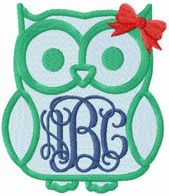 Owl monogram free embroidery design