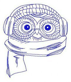 Owl the pilot 3 embroidery design