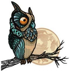 Owl watching moon embroidery design