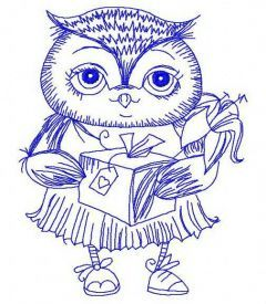 Owl with gift 2 embroidery design
