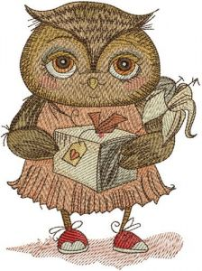 Owl with gift embroidery design
