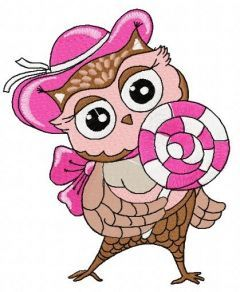 Owl with lollipop 4 embroidery design