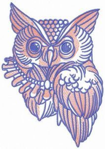 Owl with necklace embroidery design