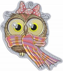Owl with scarf embroidery design