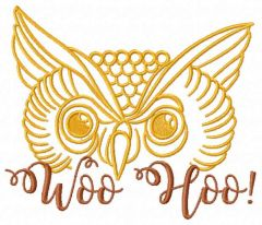 Owl Woo Hoo embroidery design