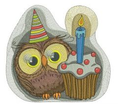 Owl's first birthday embroidery design