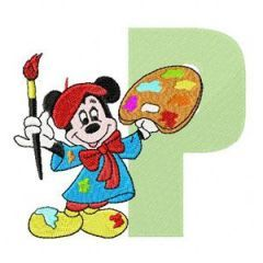 Mickey Mouse P Painter embroidery design
