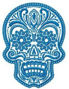 Painted scull embroidery design