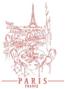 Paris France 4 embroidery design