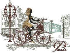 Paris travel embroidery design
