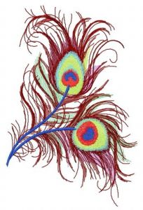 Peacock feather 3 embroidery design