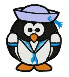 Penguine the sailor embroidery design