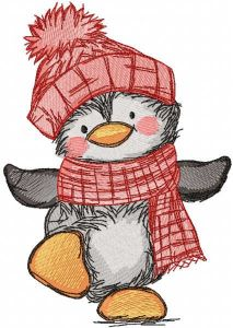 Penguin winter dancing embroidery design