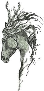 Pensive horse embroidery design