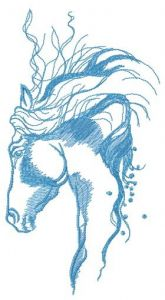 Pensive horse sketch embroidery design