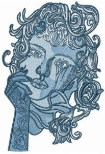 Pensive lady embroidery design